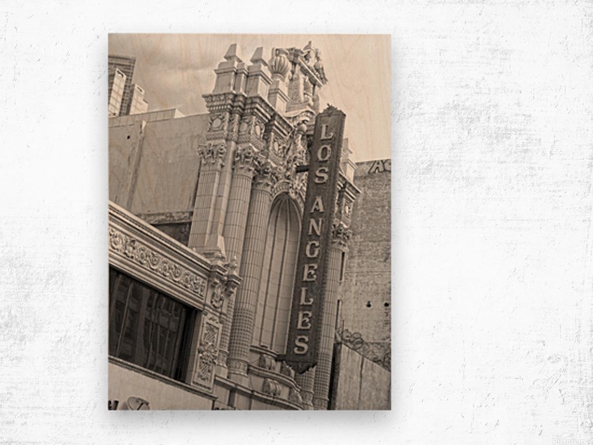 Vintage Los Angeles Theatre Sign - B&W Wood print