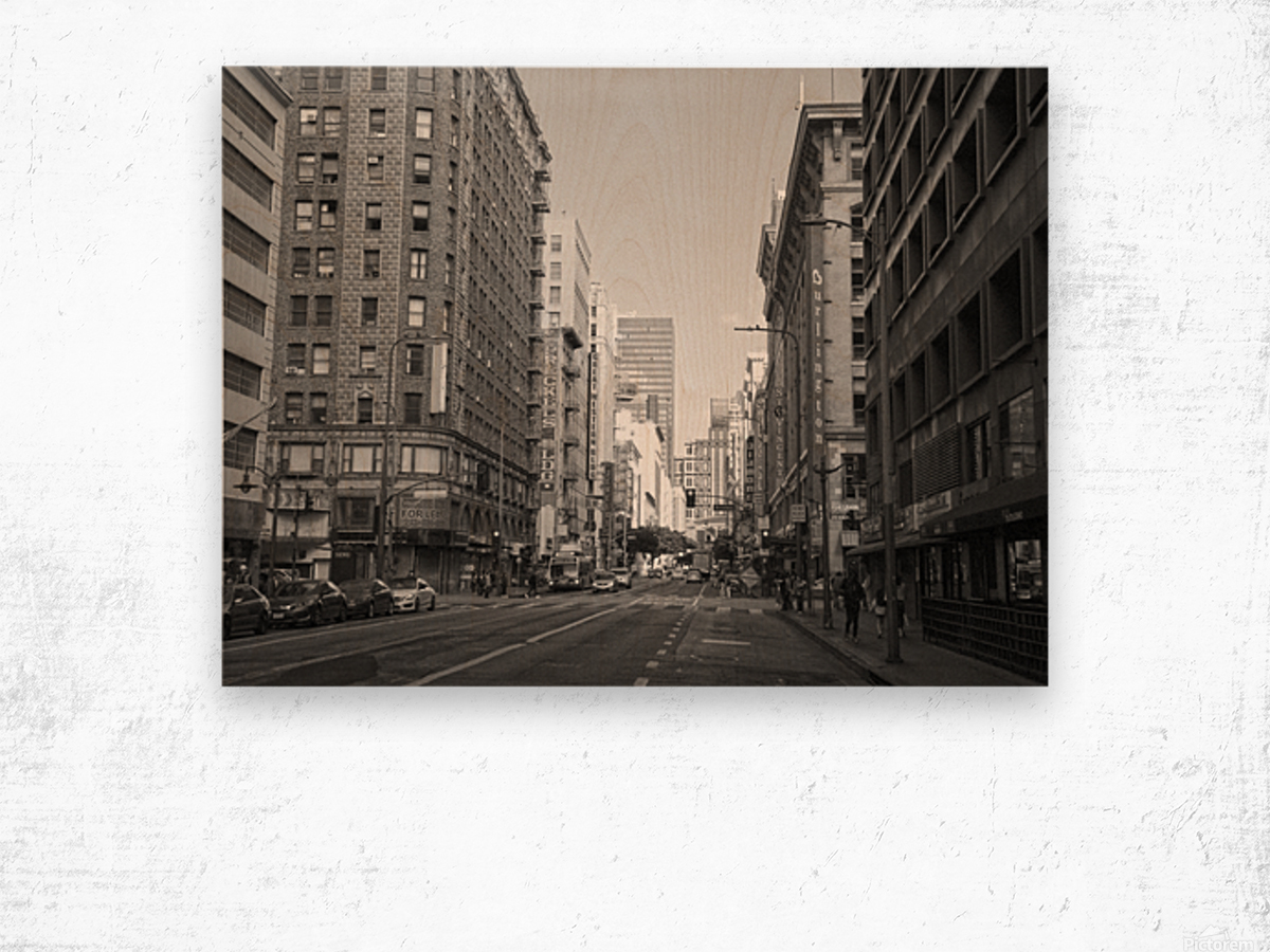 7th & Broadway DTLA - B&W Wood print