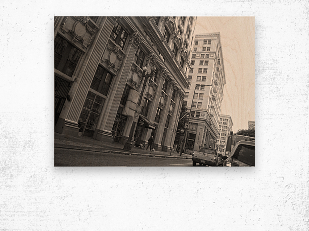 6th & Spring DTLA - B&W Wood print