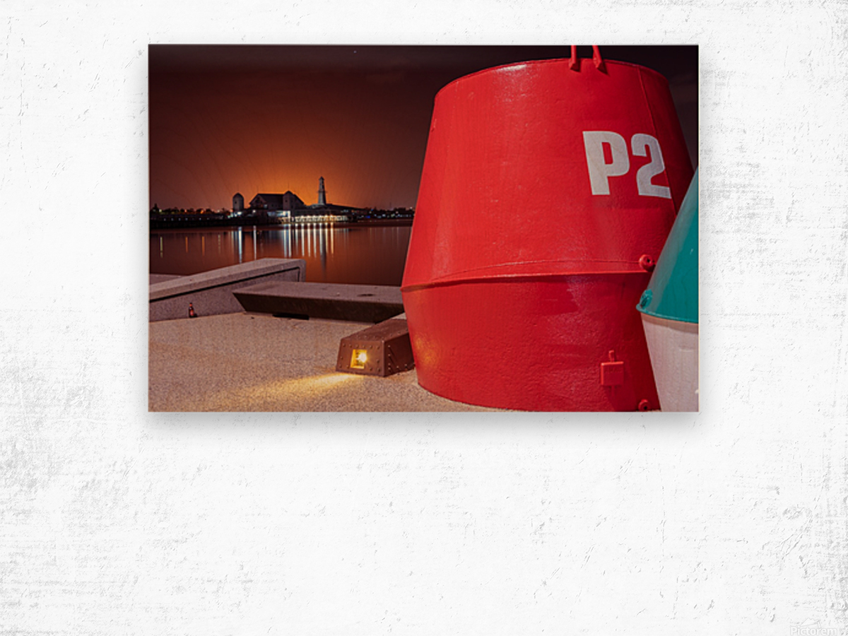 Orange lights with Geelong Pier and Buoys Wood print