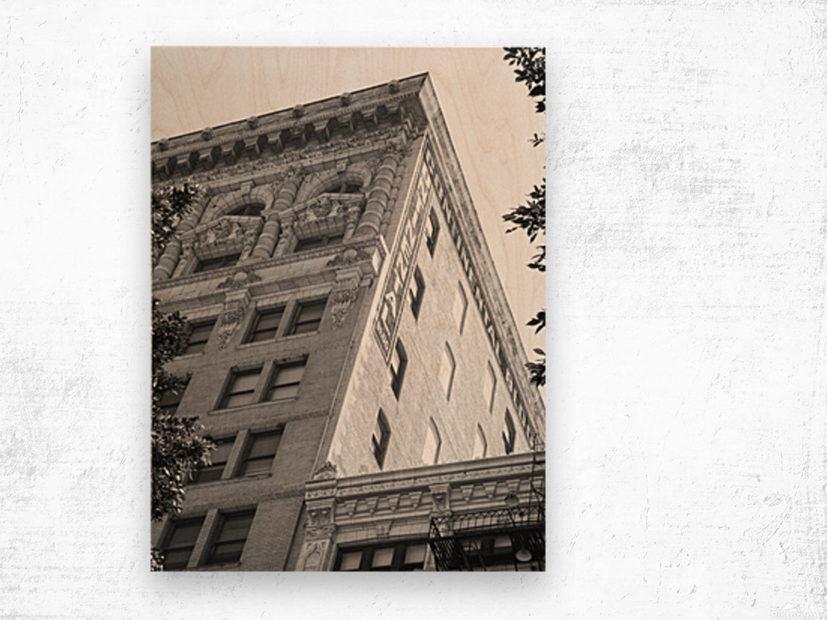 Continental Building DTLA - B&W Wood print