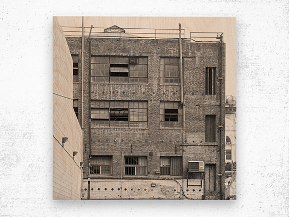 B&W Brick & Windows In Alley - DTLA  Wood print