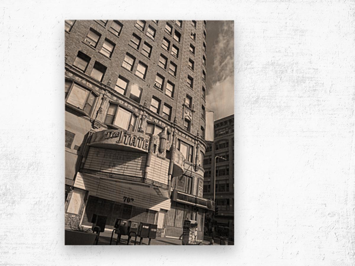 B&W The State Theatre - DTLA Wood print