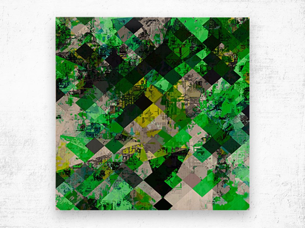 vintage psychedelic geometric square pixel pattern abstract in green and yellow Wood print