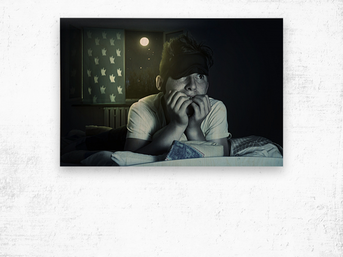 scared and sleepless boy chewing fingernails Wood print