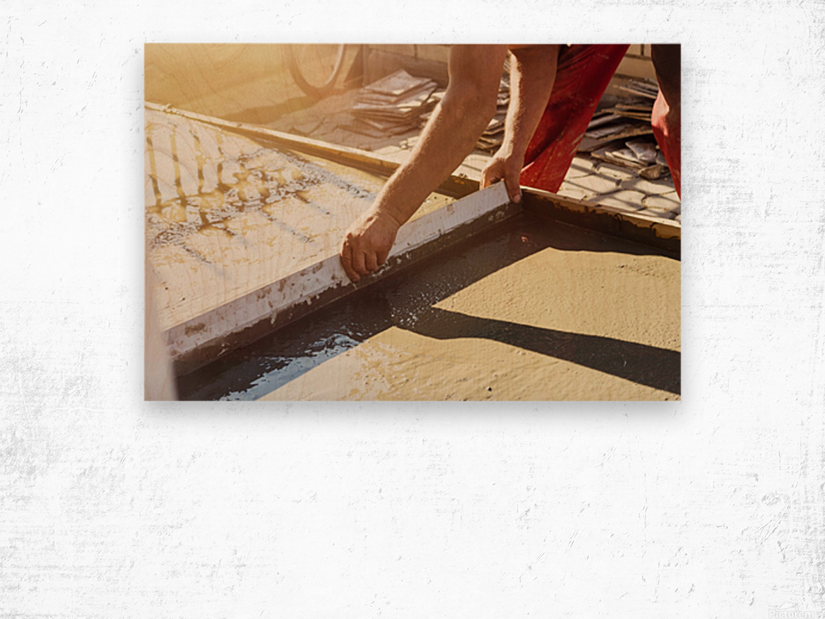 Leveling the ground Wood print