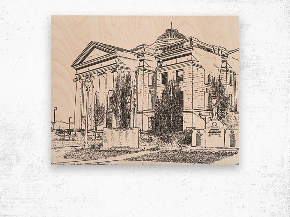 BoCoMo Courthouse  Wood print