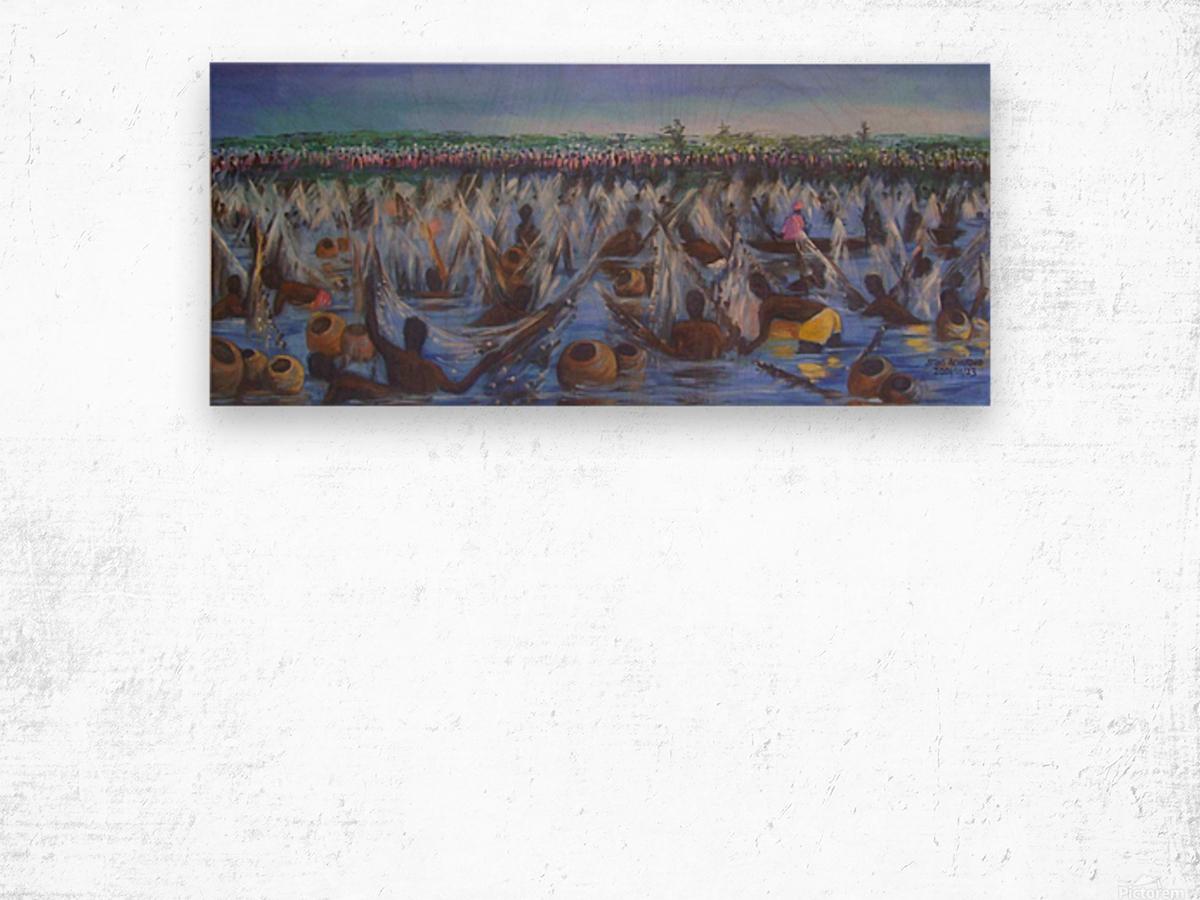 Argungu Fishing Festival, painted by Stephen Achugwo_1526765853.23 Wood print