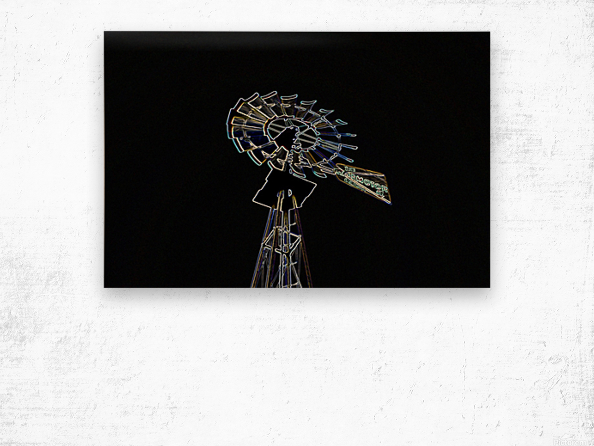 Aeromotor Windmill Wood print