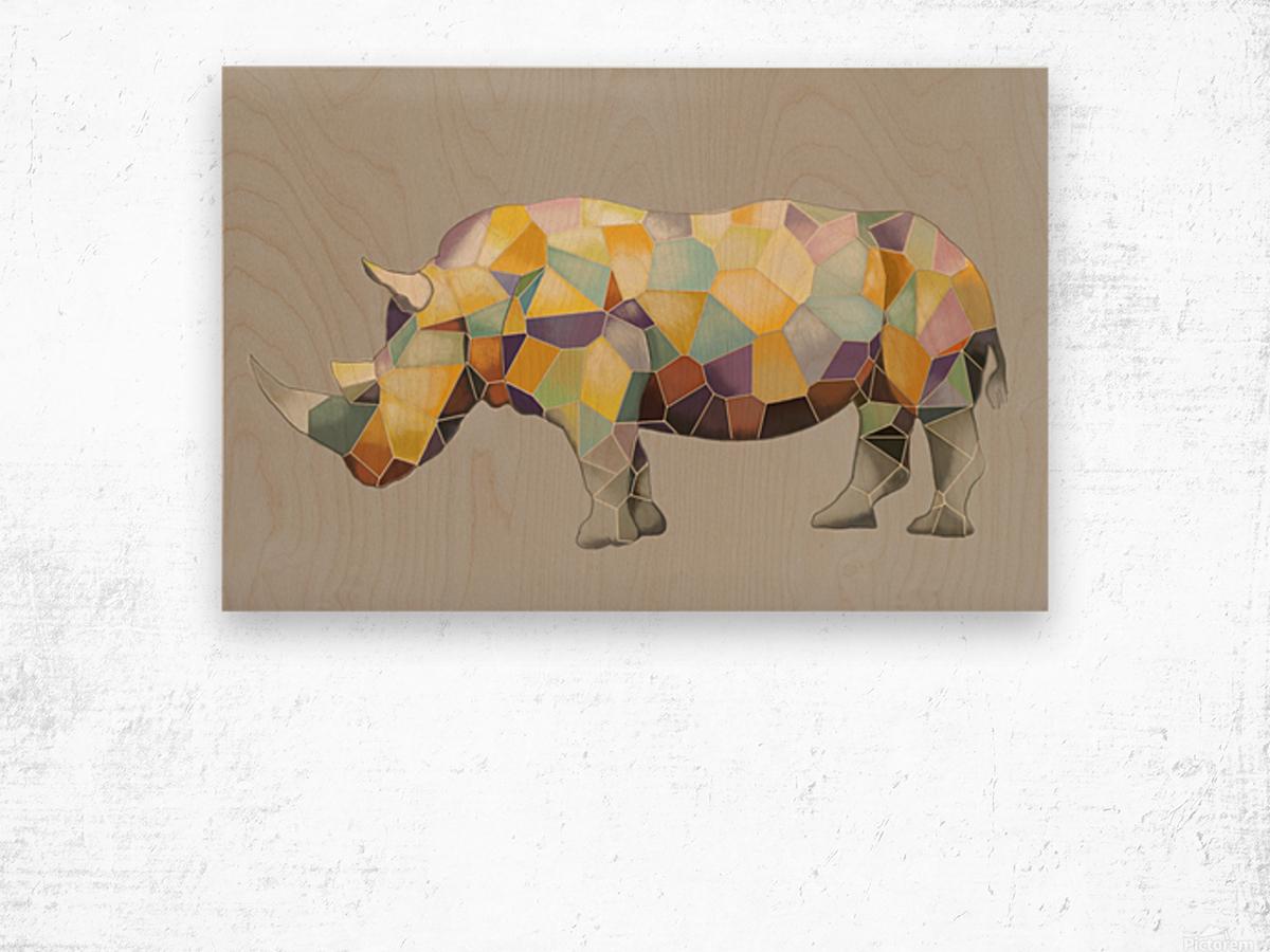Rhino Mosaic Wood print