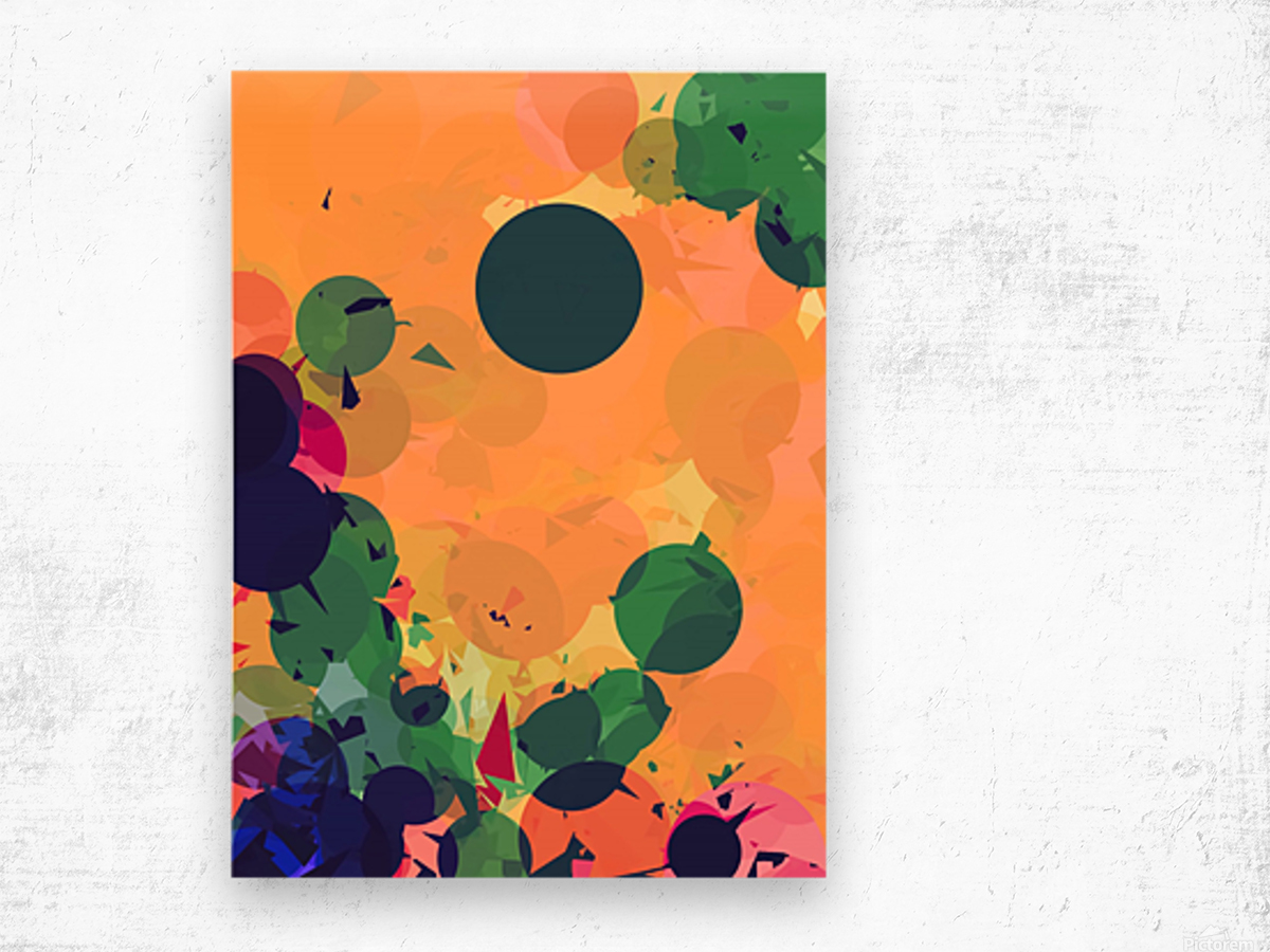 geometric circle and triangle pattern abstract in green orange red Wood print