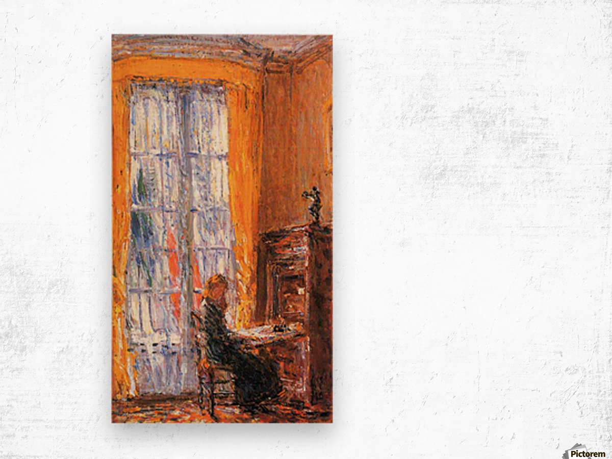 At the desk by Hassam Wood print