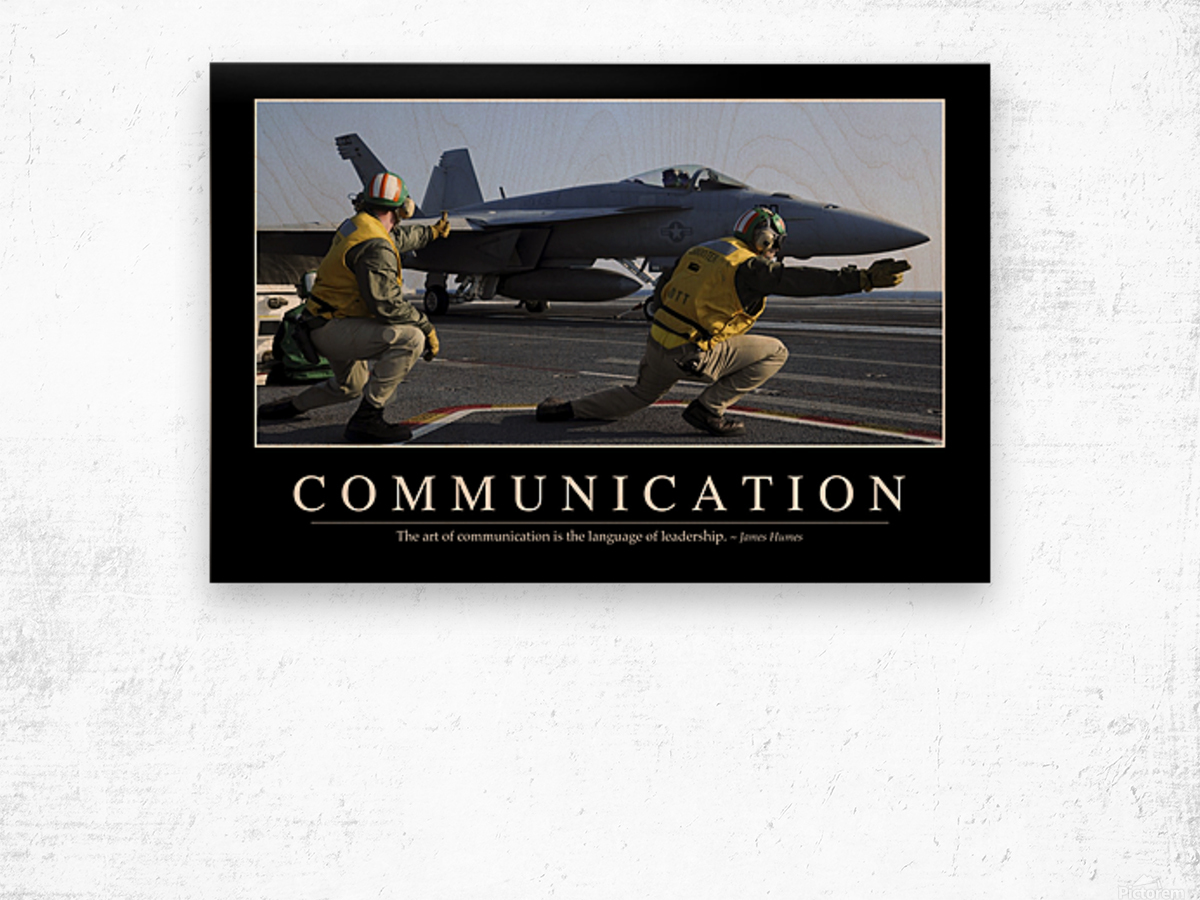 Communication: Inspirational Quote and Motivational Poster Wood print