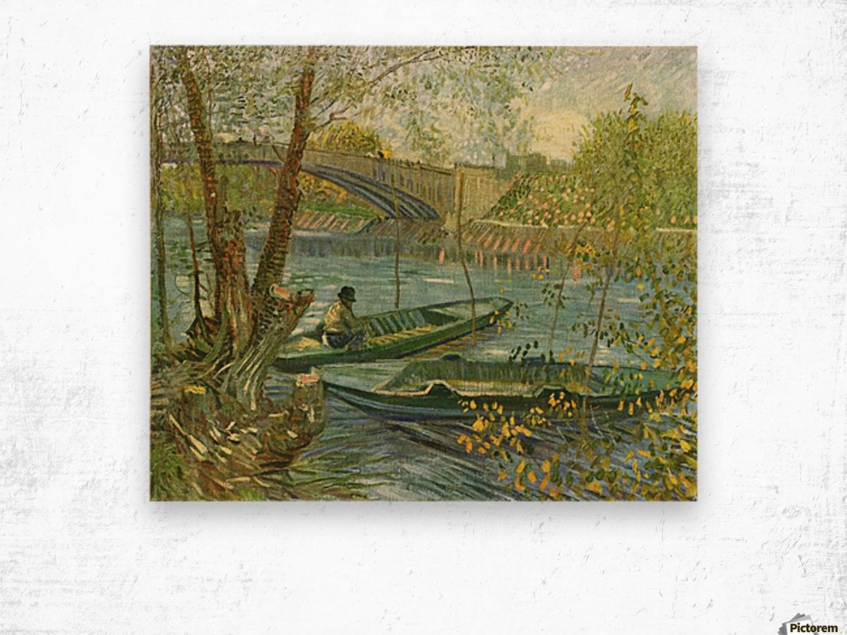 Angler and boat at the Pont de Clichy by Van Gogh Wood print