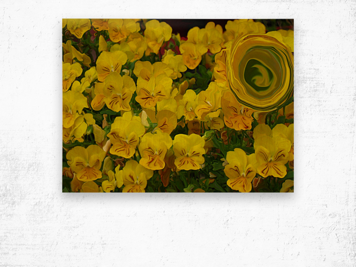 Yellow Abstract Floral Art Wood print