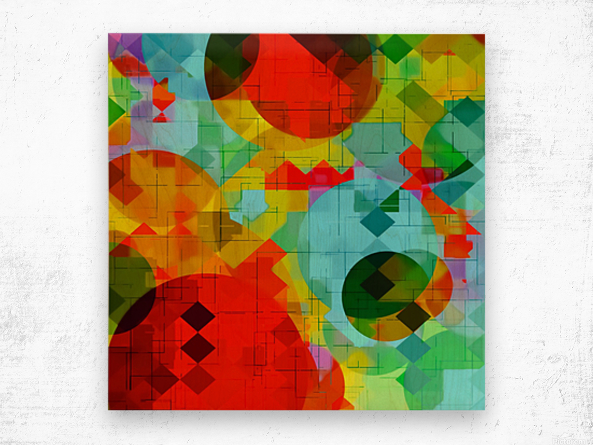 geometric square pixel and circle pattern abstract in red blue yellow Wood print