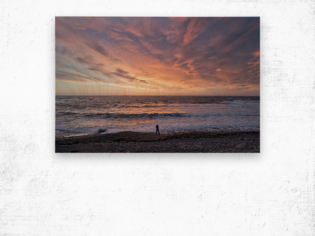 Seaside Sunset Wood print