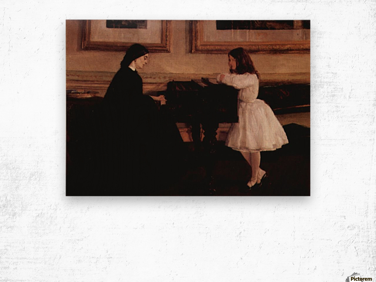 At the piano by Whistler Wood print