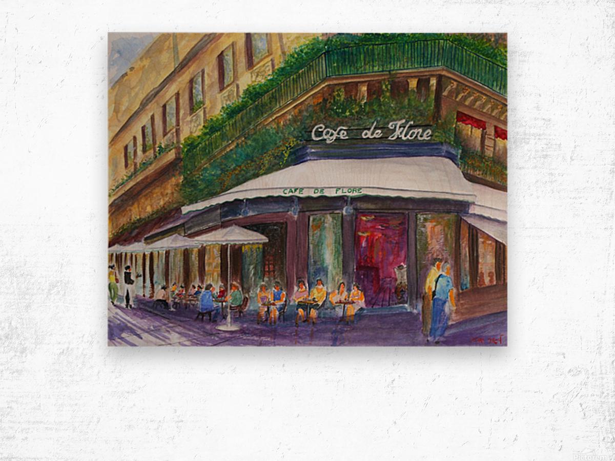 Cafe The Flore Paris Wood print