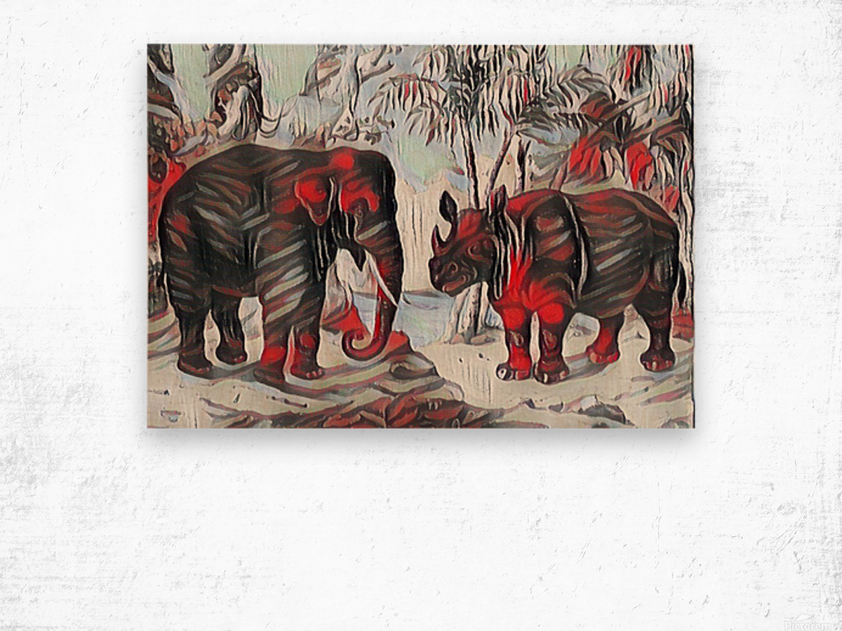 Elephant And Rhinoceros_On A Cold Rain_OSG Wood print