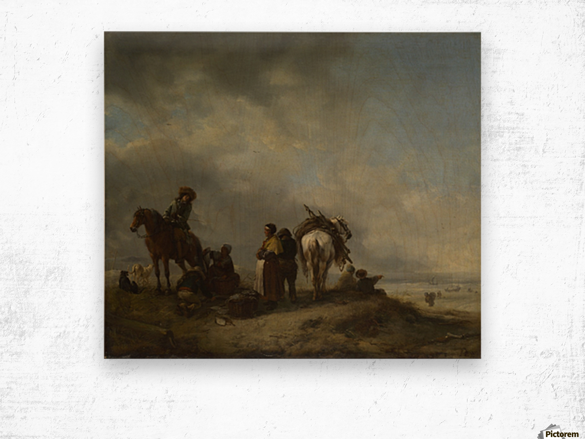 A View on a Seashore with Fishwives offering Fish to a Horseman Wood print