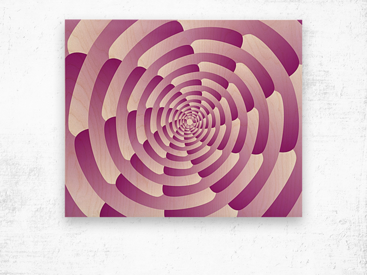 Abstract Pink Spiral Art  Wood print