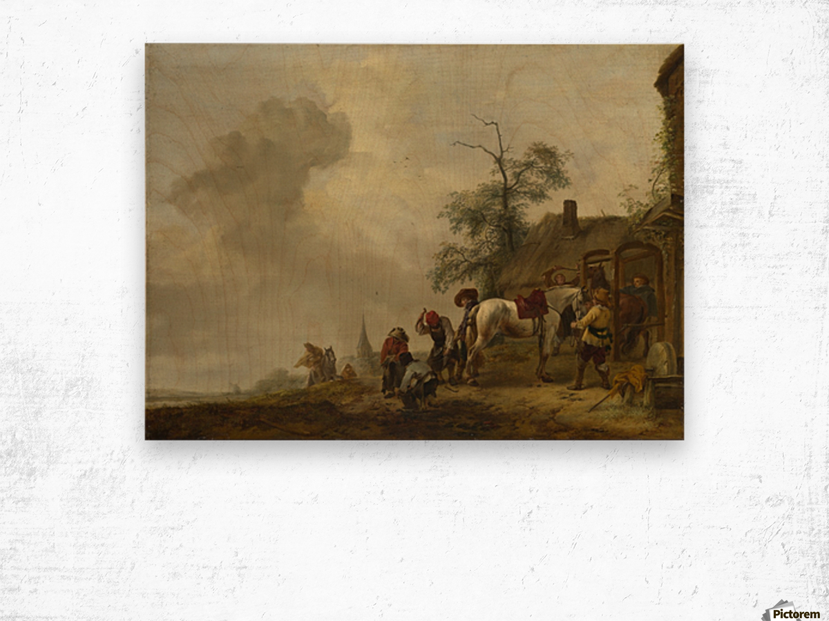 A Horse being Shod outside a Village Smithy Wood print