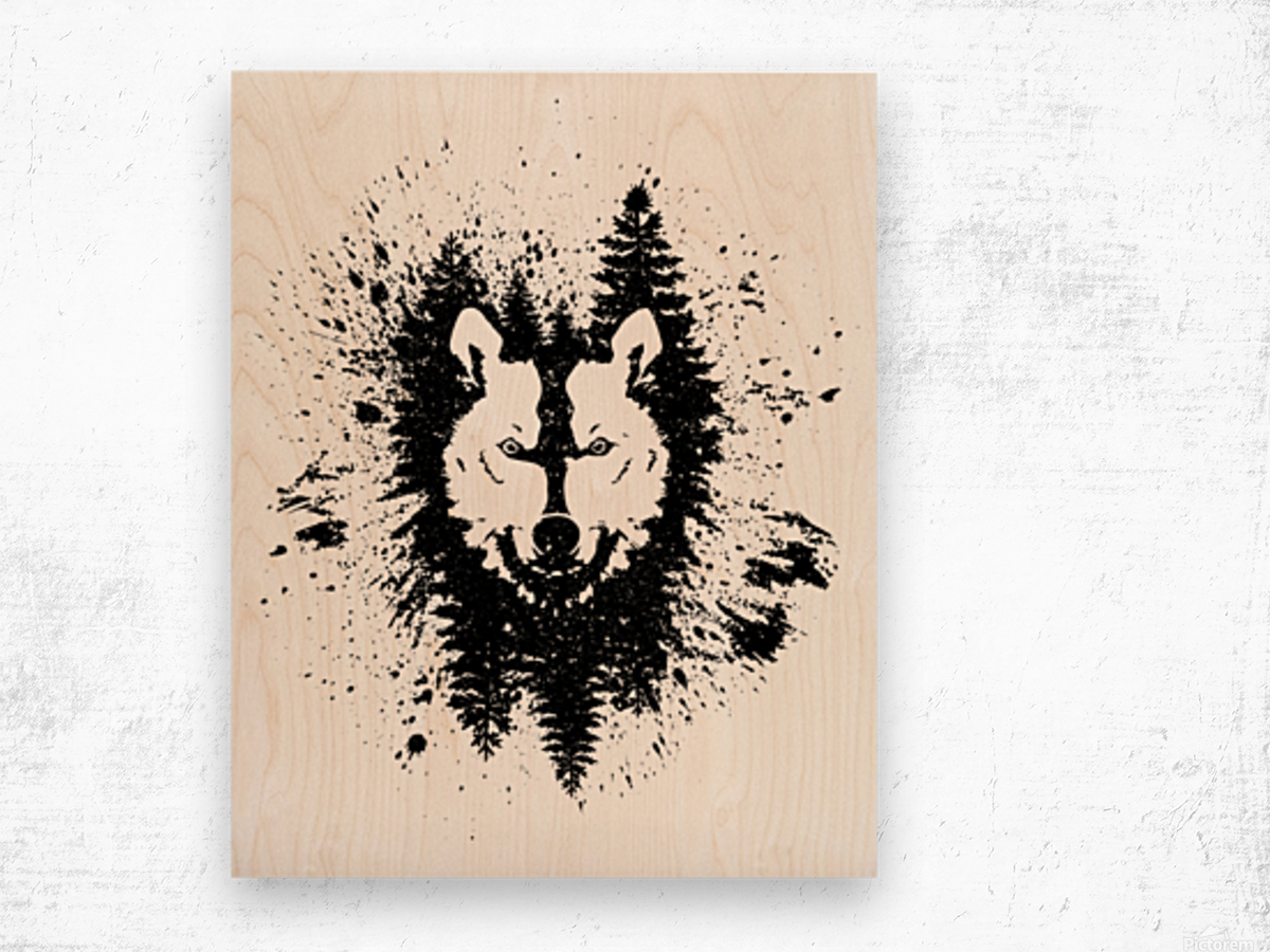 Absract Wolf Wood print