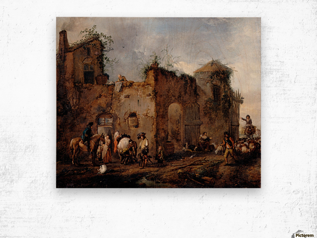 Courtyard with a Farrier shoeing a Horse Wood print