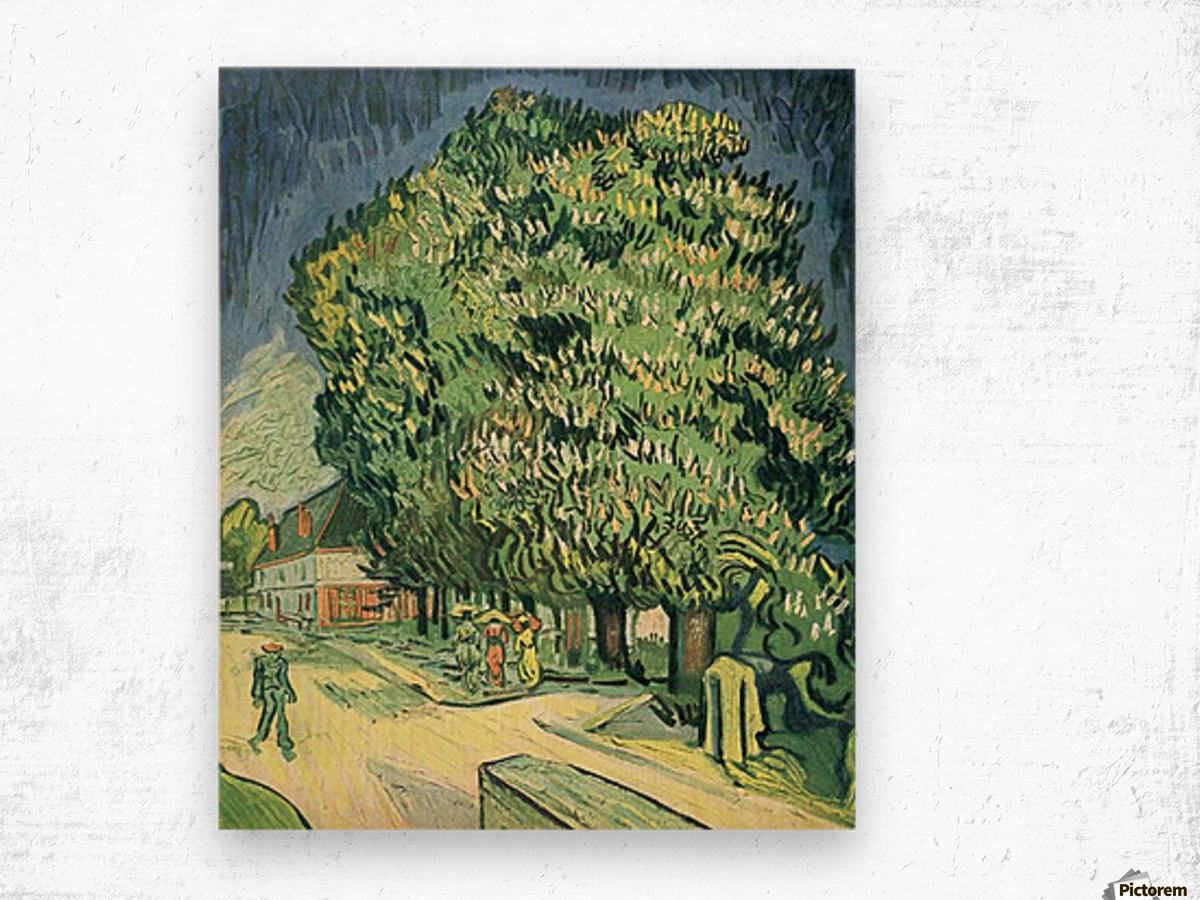 Blossoming chestnut tree by Van Gogh Wood print