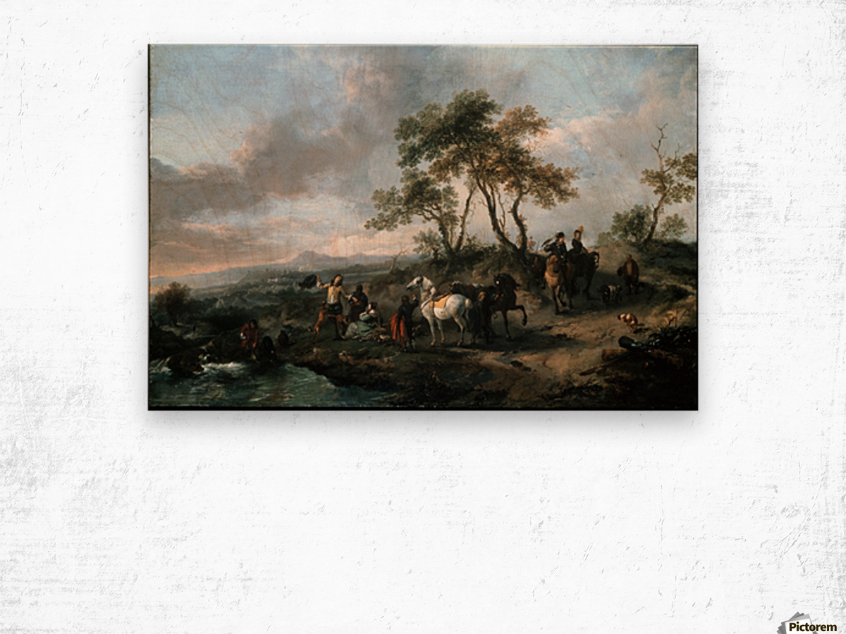 Halt of a Hunting Party Wood print