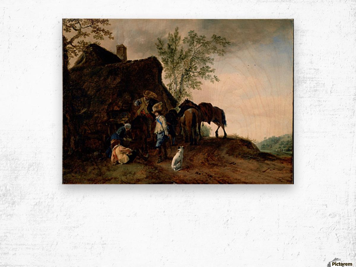 Halt of Cavaliers at an Inn Wood print