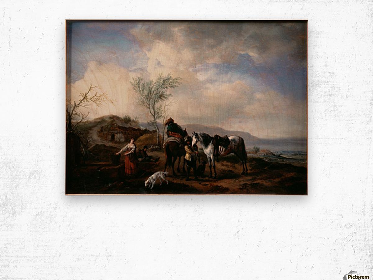 Two Horsemen near a Fountain Wood print