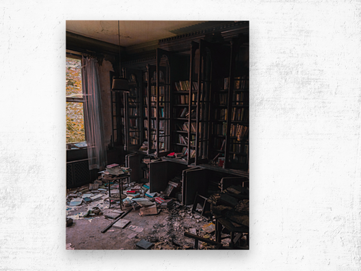 Abandoned Mansion Library Wood print