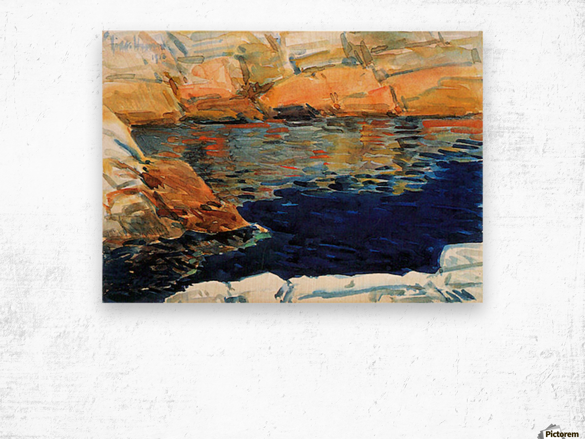 Beryl look at the pond by Hassam Wood print