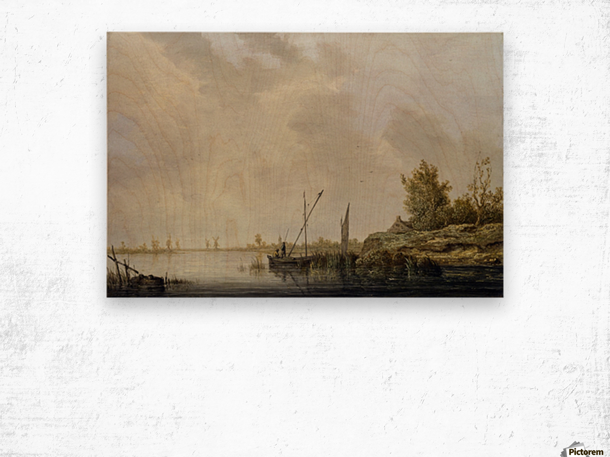 A River Scene with Distant Windmills Wood print