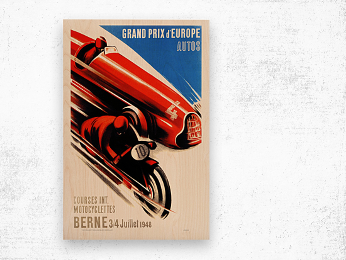 Berne Grand Prix d'Europe Autos 1948 Wood print