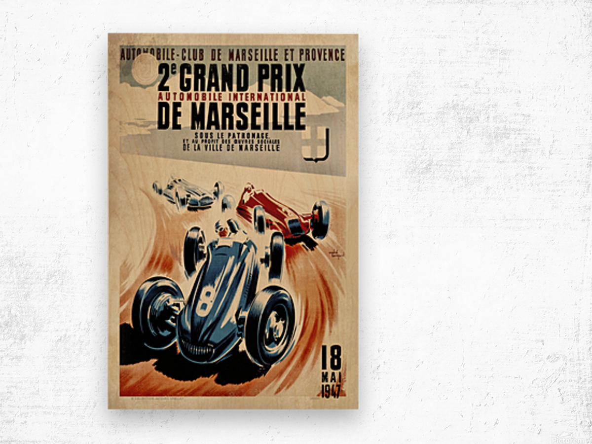 Marseille 2nd Grand Prix Automobile International 1947 Wood print