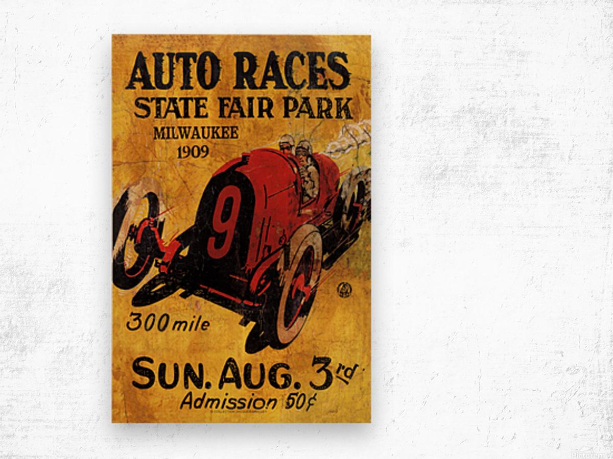 Milwaukee 300 Mile Auto Races State Fair Park 1909 Impression sur bois