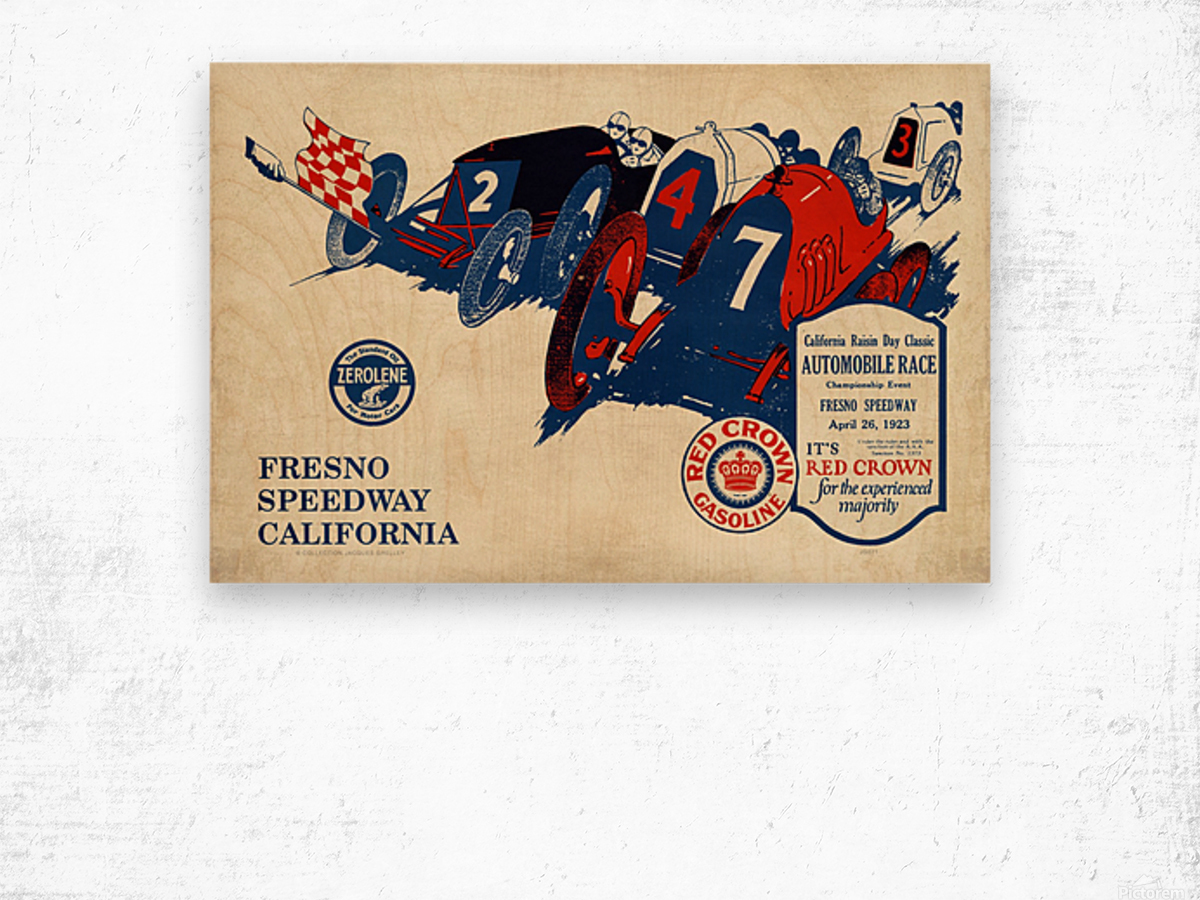 California Raisin Day Classic Automobile Race Championship Event Fresno Speedway 1923 Wood print