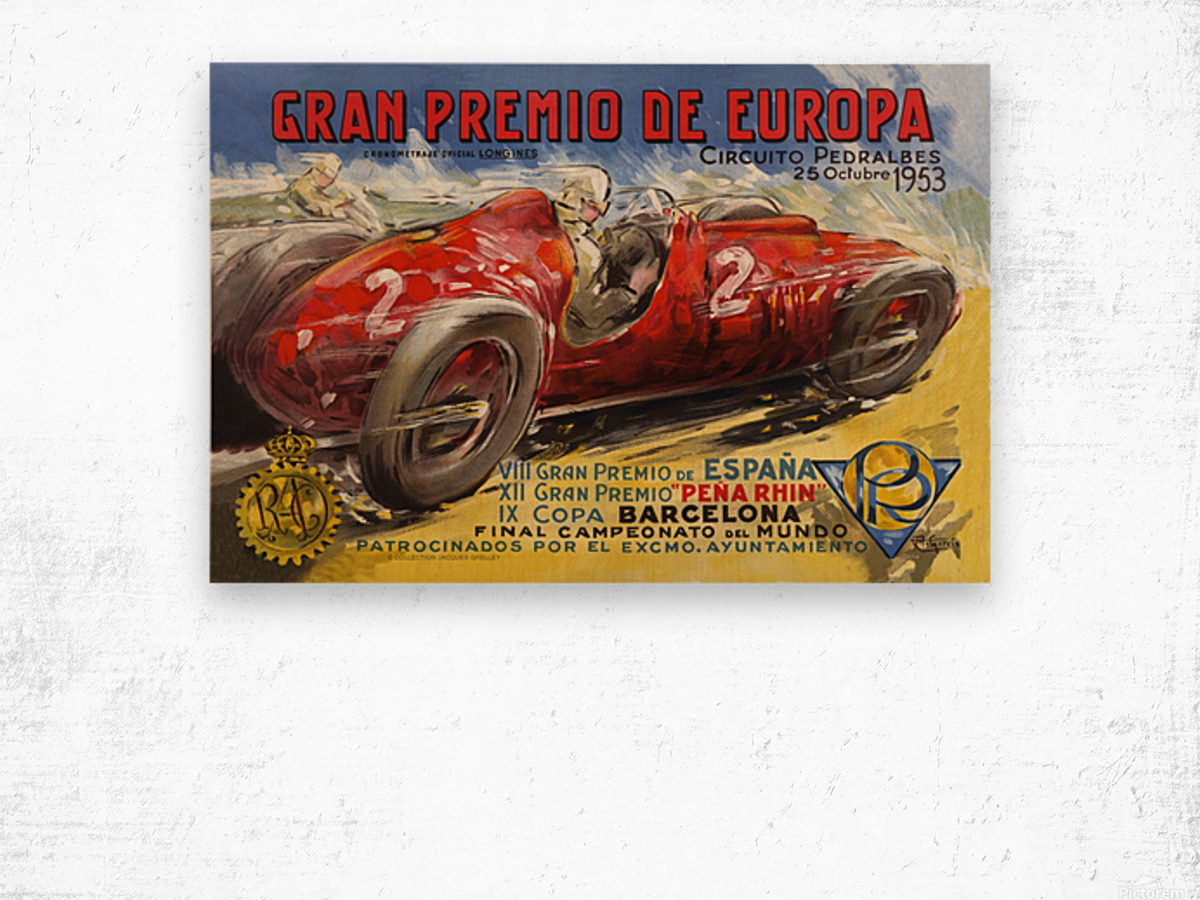 Gran Premio De Europa VII Espana XII Pena Rin IX Barcelona 1953 Impression sur bois
