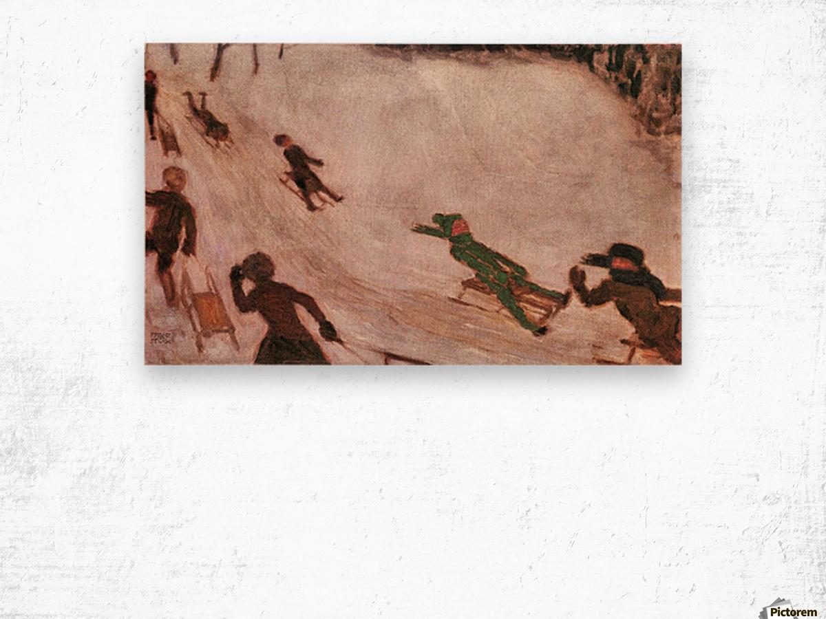 Children sledding by Franz von Stuck Wood print
