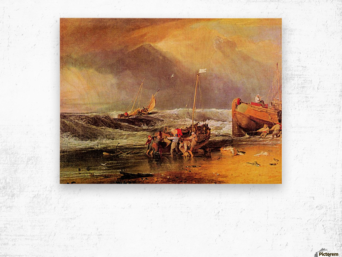 Coastal scene with fishermen by Joseph Mallord Turner Wood print
