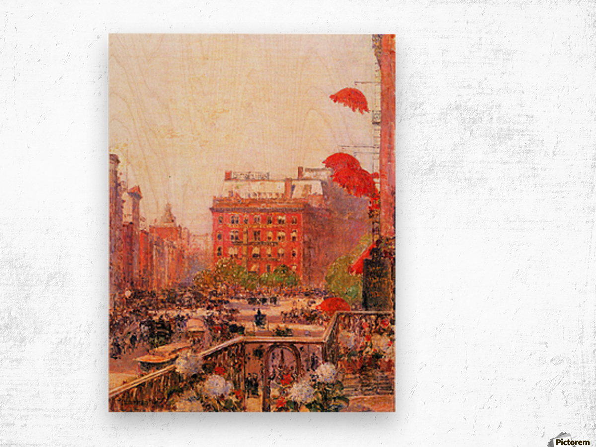 Broadway and Fifth Avenue by Hassam Wood print