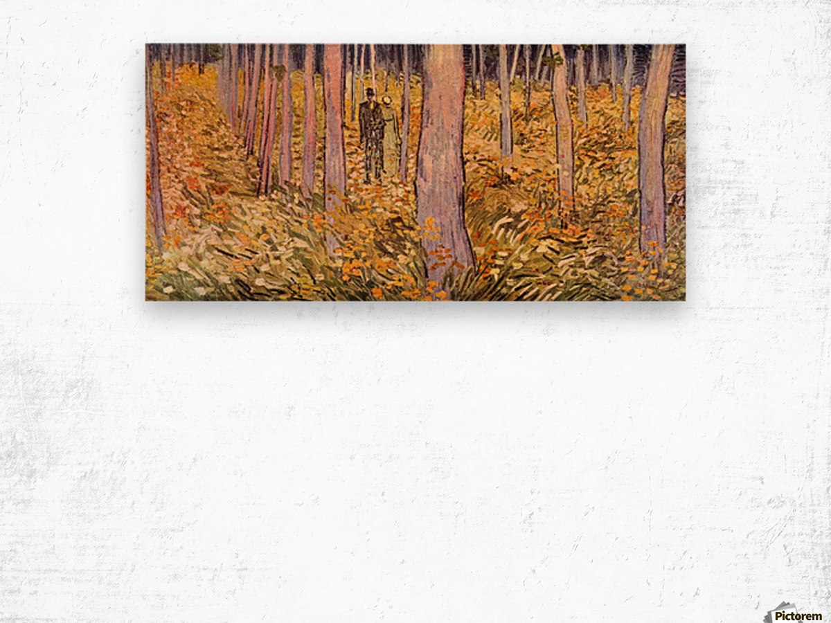 Couple walk in the woods by Van Gogh Wood print