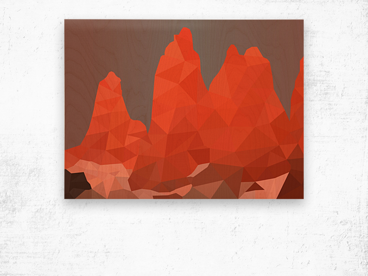 Torres del Paine National Park Low Poly Art  Wood print