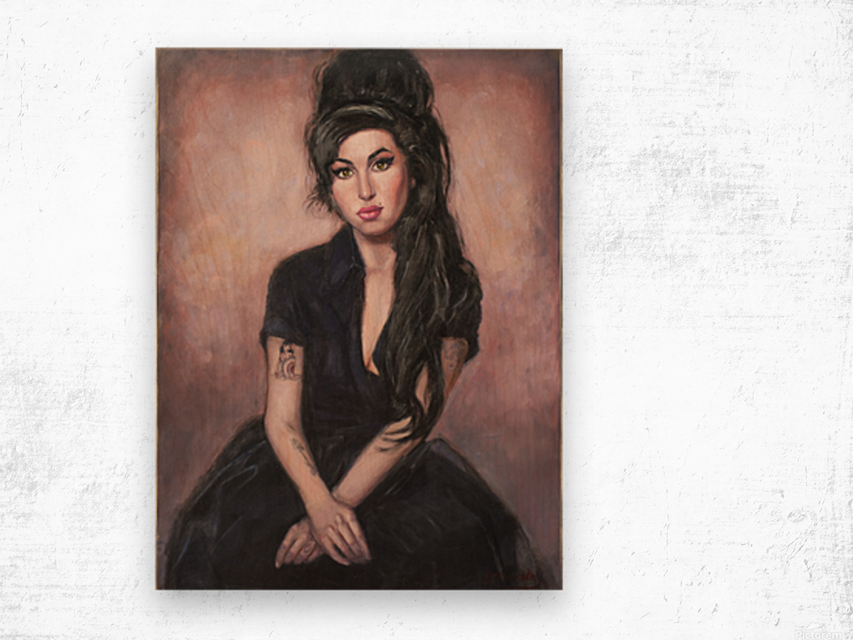 Amy in black  Wood print