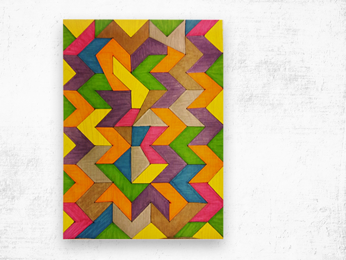 Patterned Lines of Color Wood print