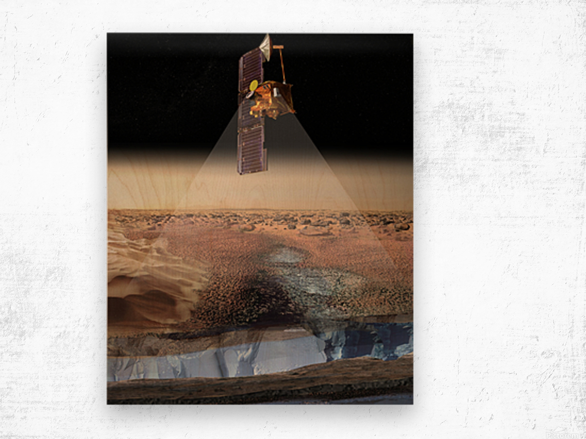 Artists View of Odyssey Detecting Ice. Wood print