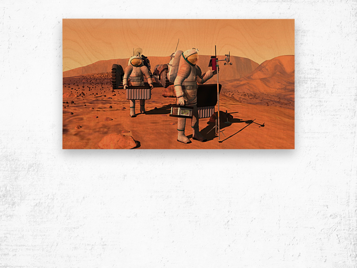Artists concept of astronauts setting up weather monitoring equipment on Mars. Wood print